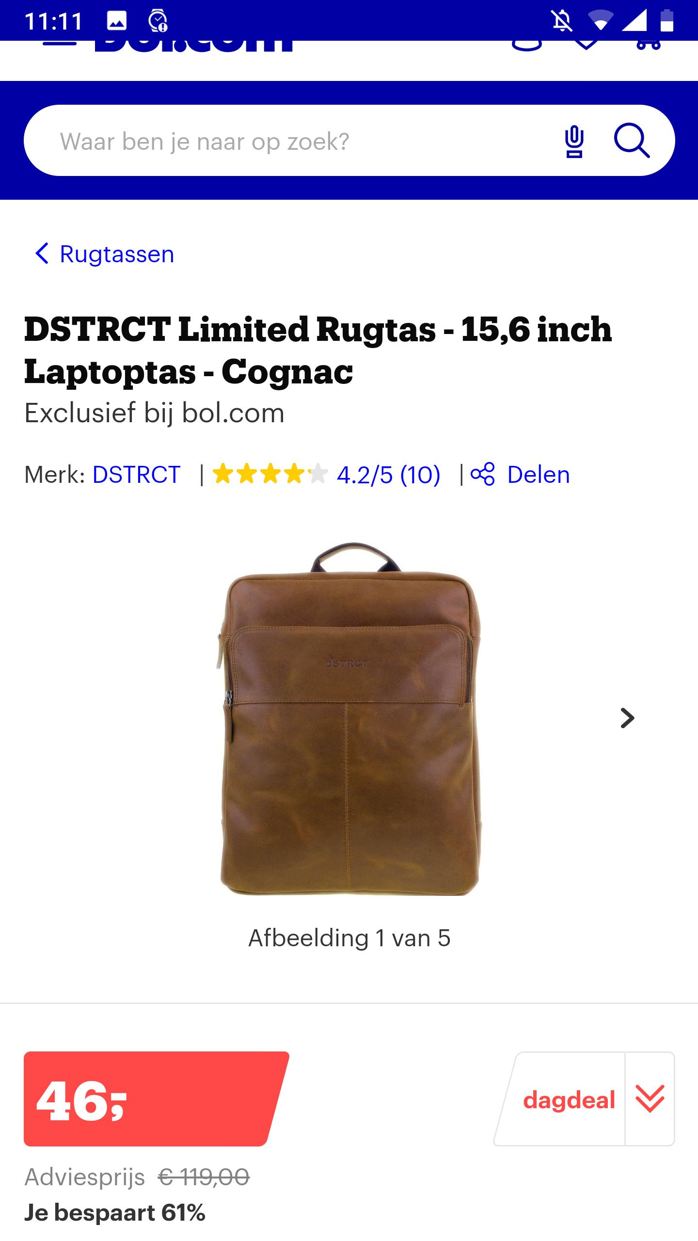 DSTRCT Limited Rugtas - 15,6 inch Laptoptas - Cognac