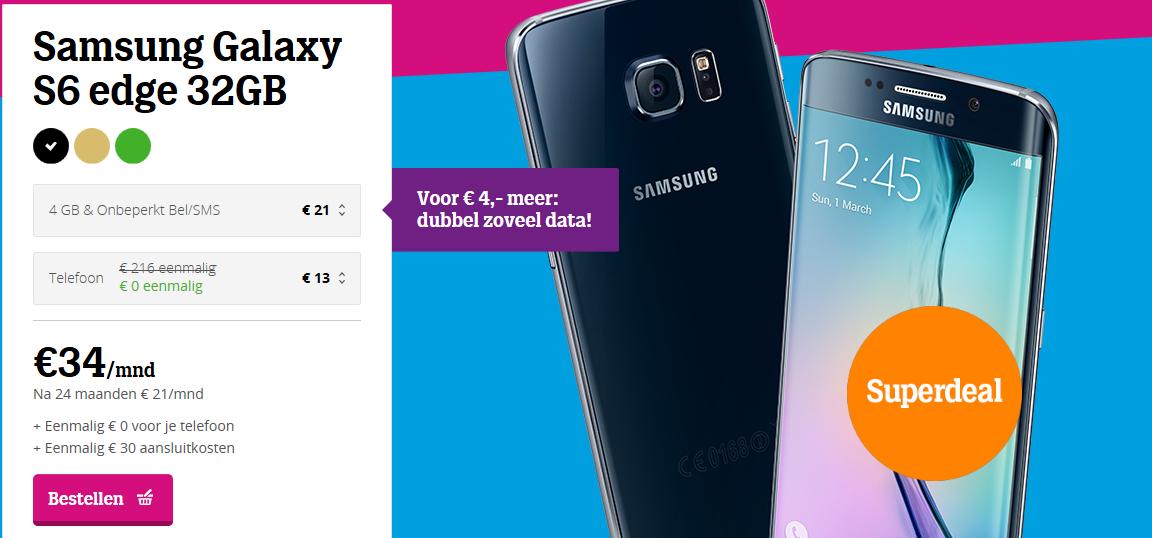 €34/mnd Samsung Galaxy S6 edge 32GB abonnement @ Tele2
