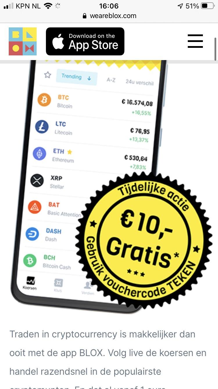10 euro tegoed bij aanmelden bij BLOX