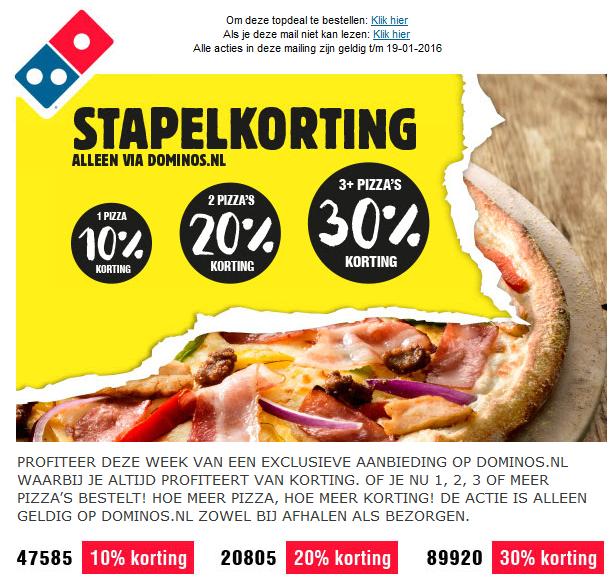 Stapelkortingen tot 30% @ Domino's Pizza