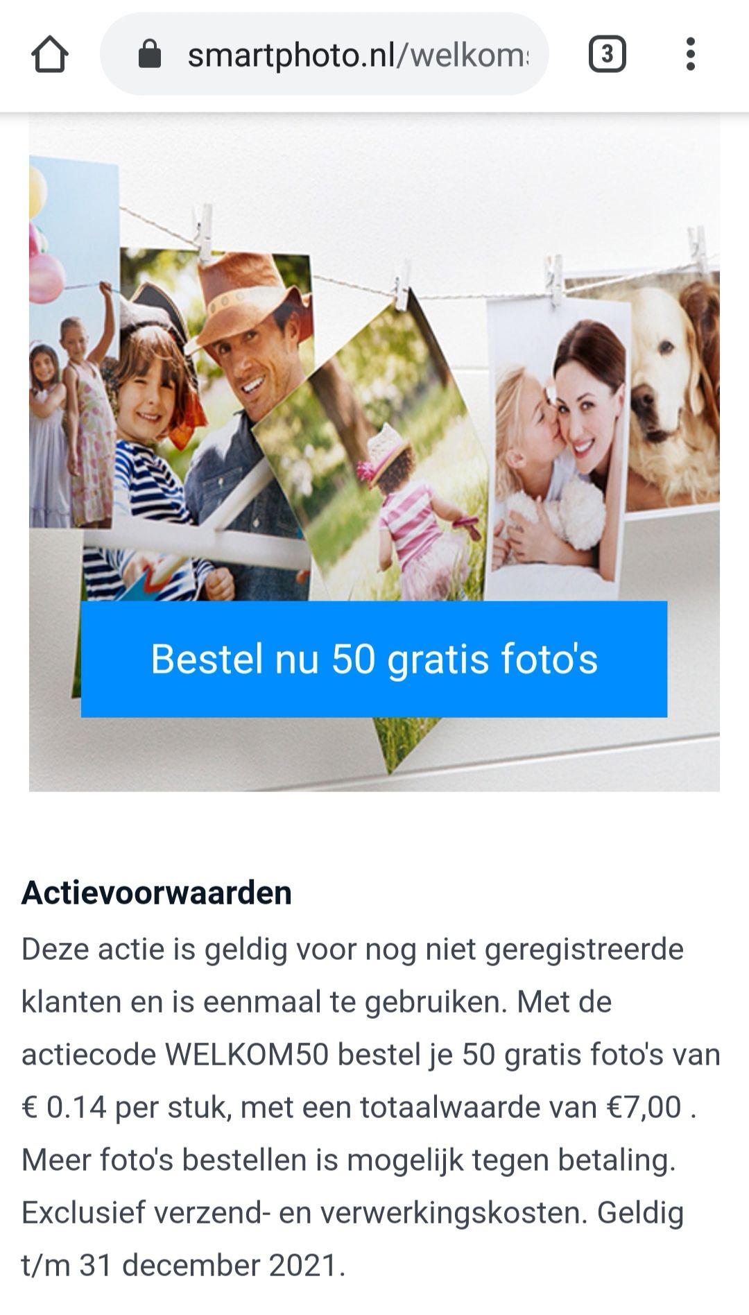 SMARTPHOTO 50 gratis foto's afdrukken (ex. verzending)