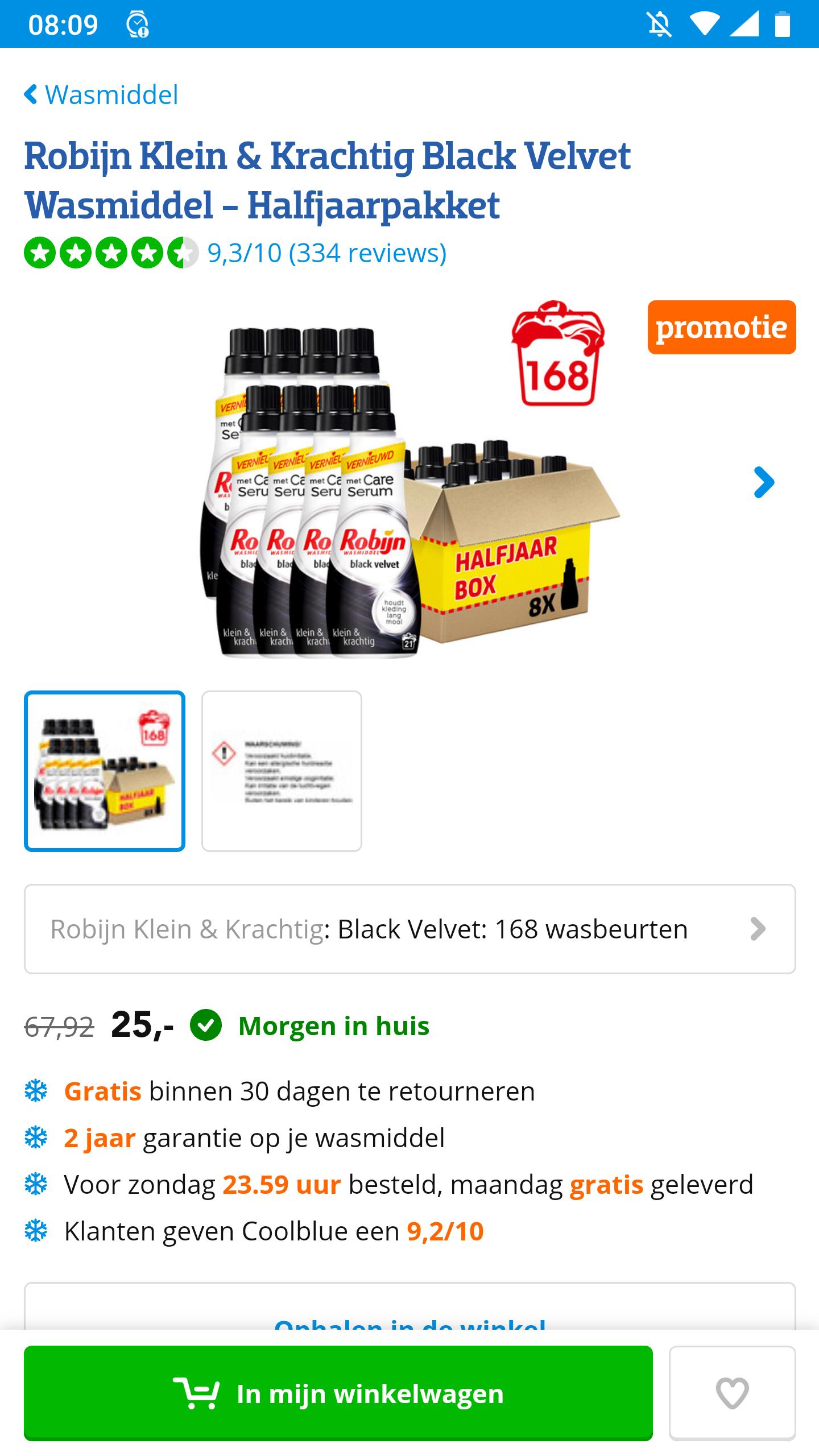 Robijn Klein & Krachtig Black Velvet Wasmiddel - Halfjaarpakket (België)