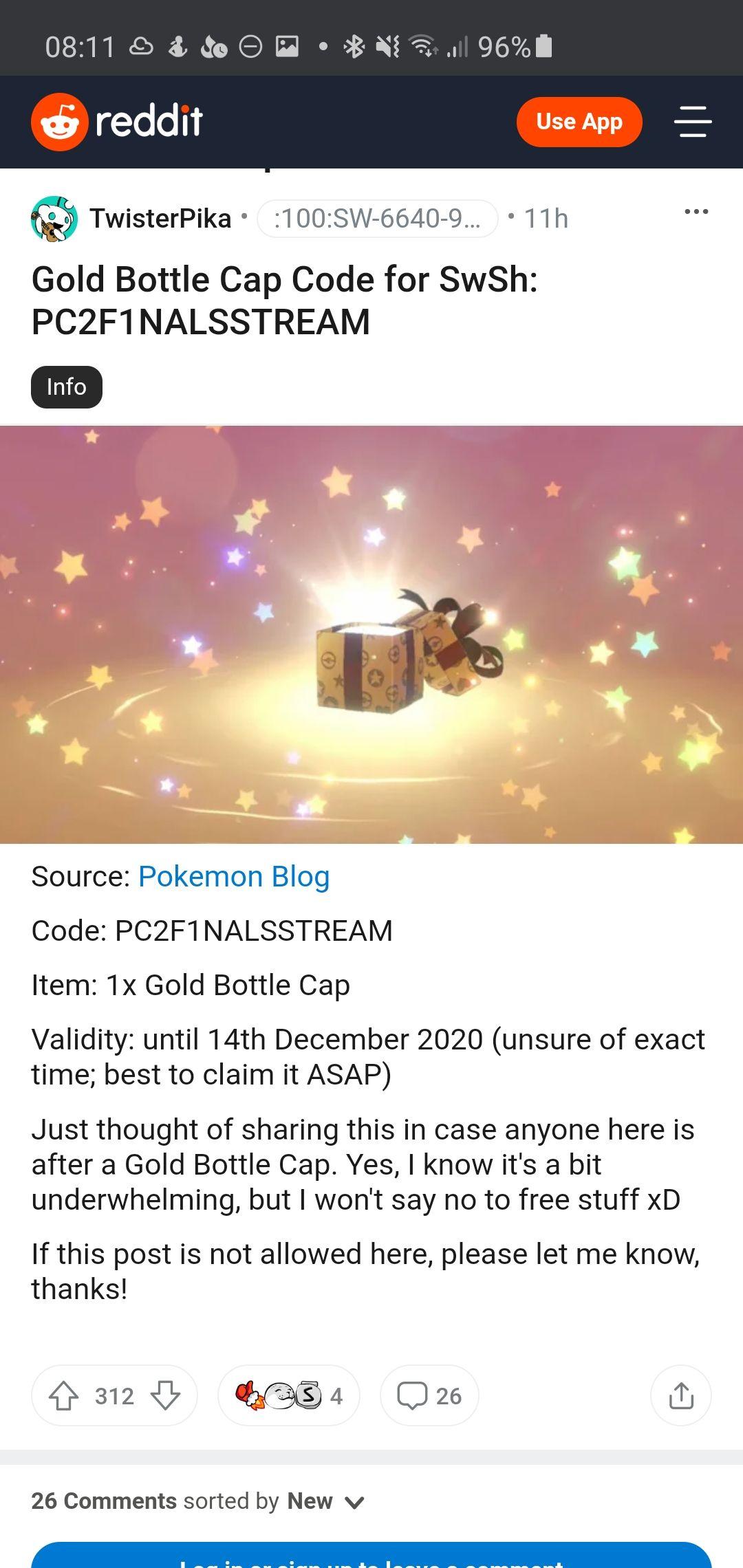 Gratis Bottle Cap voor Pokémon Sword/Shield op de Nintendo Switch