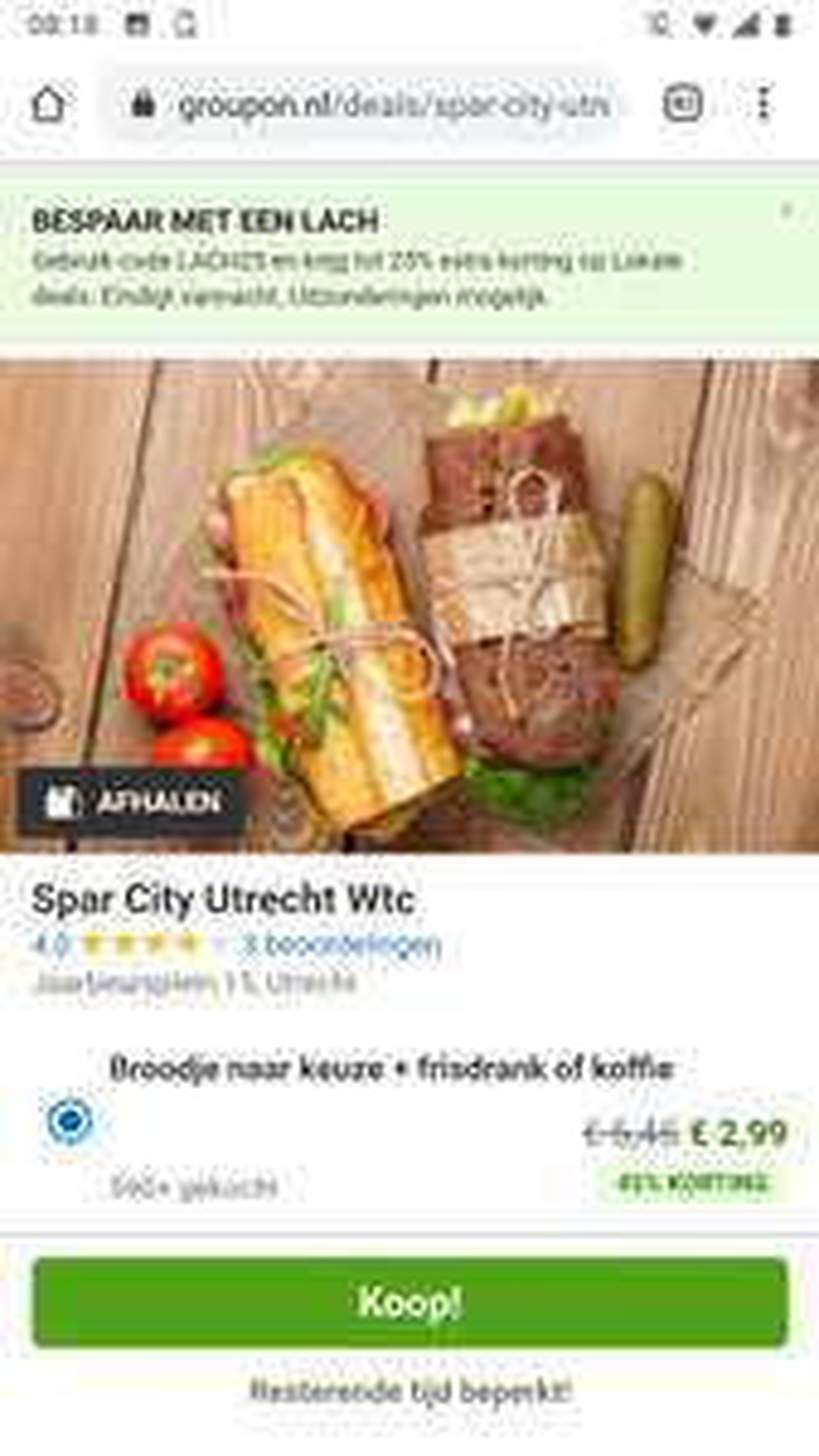 Broodje en drankje bij Spar City Utrecht WTC