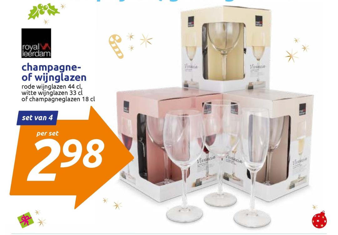Weekactie Action: 4-pak champagne- en wijnglazen