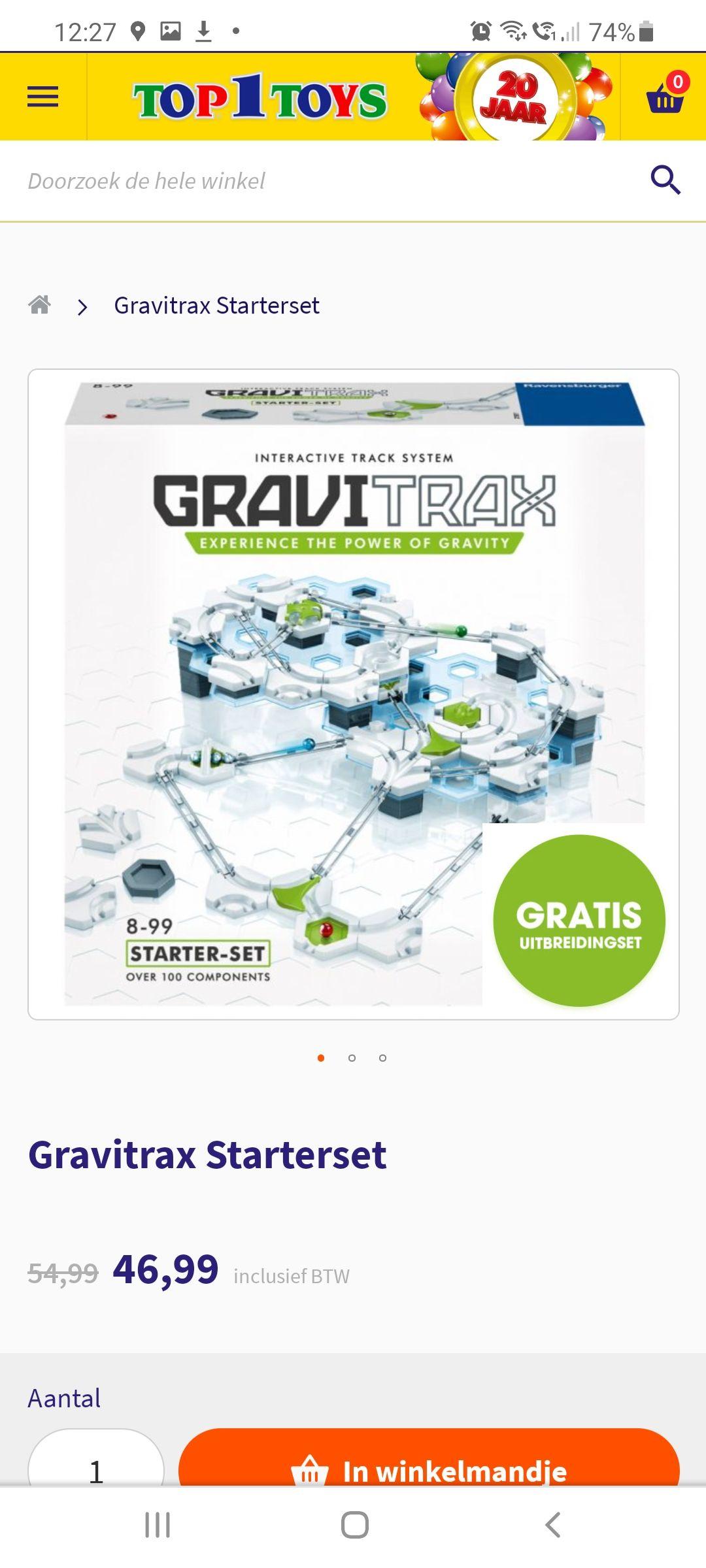 Gravitrax starterset incl. uitbreidingsset twv €11.99