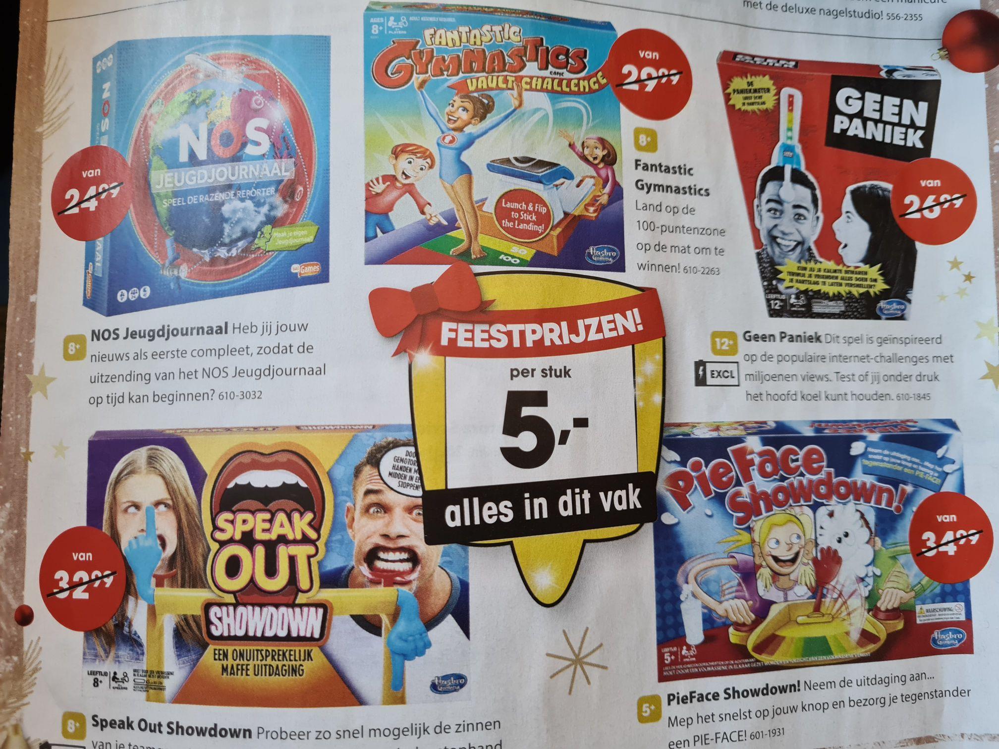 Verschillende spellen €5, waaronder pieface showdown