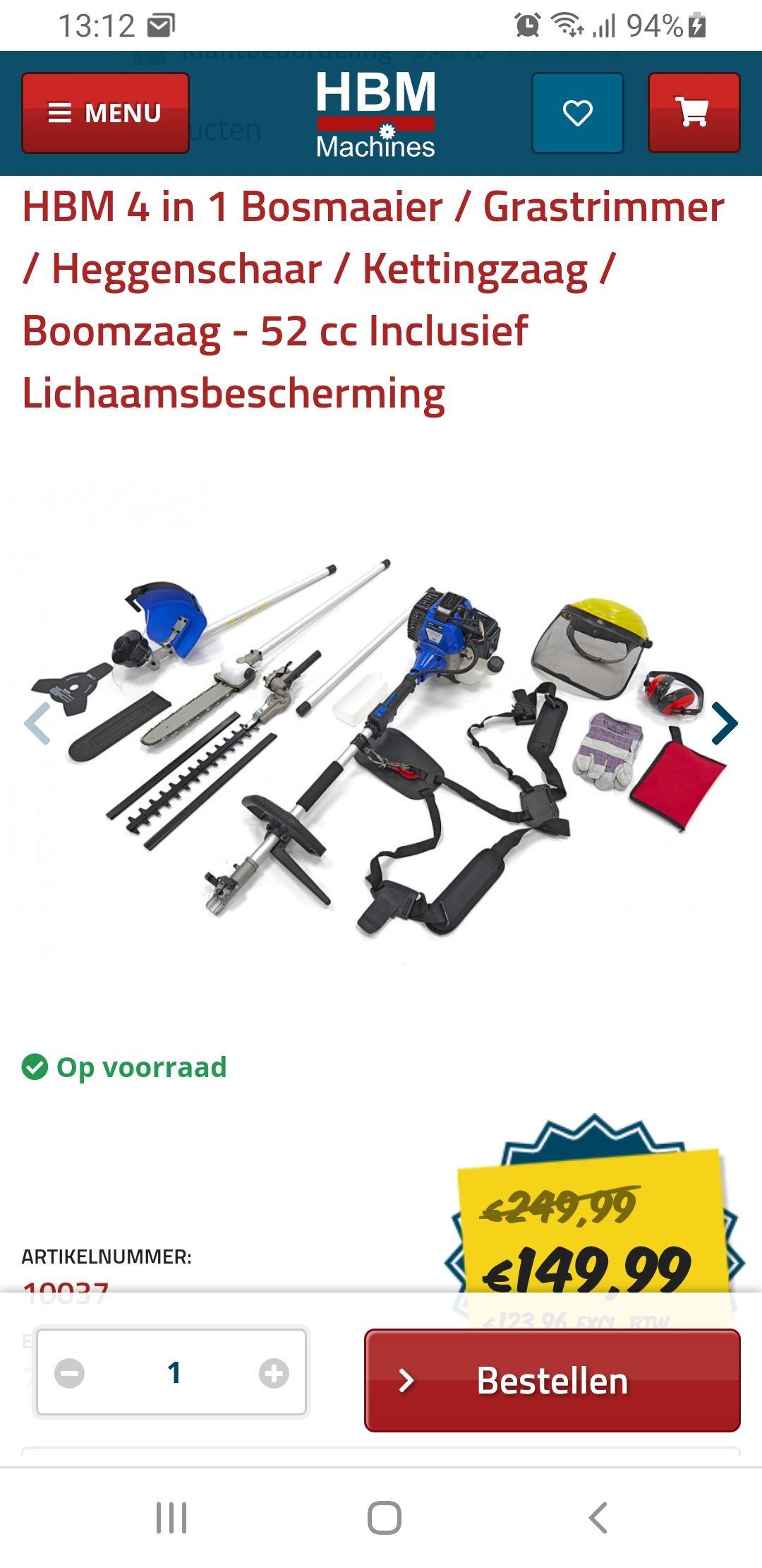 4 in 1 Bosmaaier / Grastrimmer / Heggenschaar / Kettingzaag / Boomzaag - 52 cc Inclusief Lichaamsbescherming