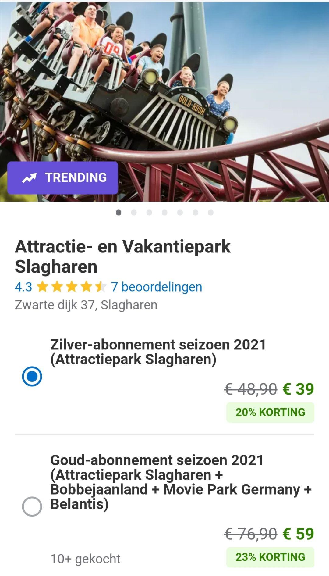 Goud abonnement Slagharen bij Groupon.nl (inclusief 5x Movie park en Bobbejaanland)
