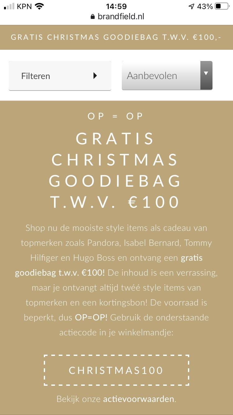Goodiebag twv €100 bij besteding €50