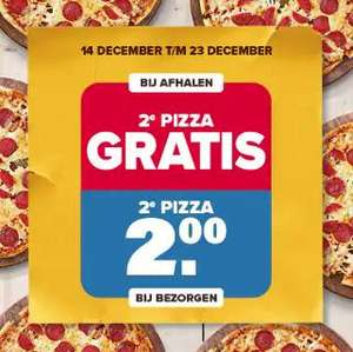 2e pizza gratis bij afhalen, 2e pizza 2 euro bij bezorgen @ Dominos