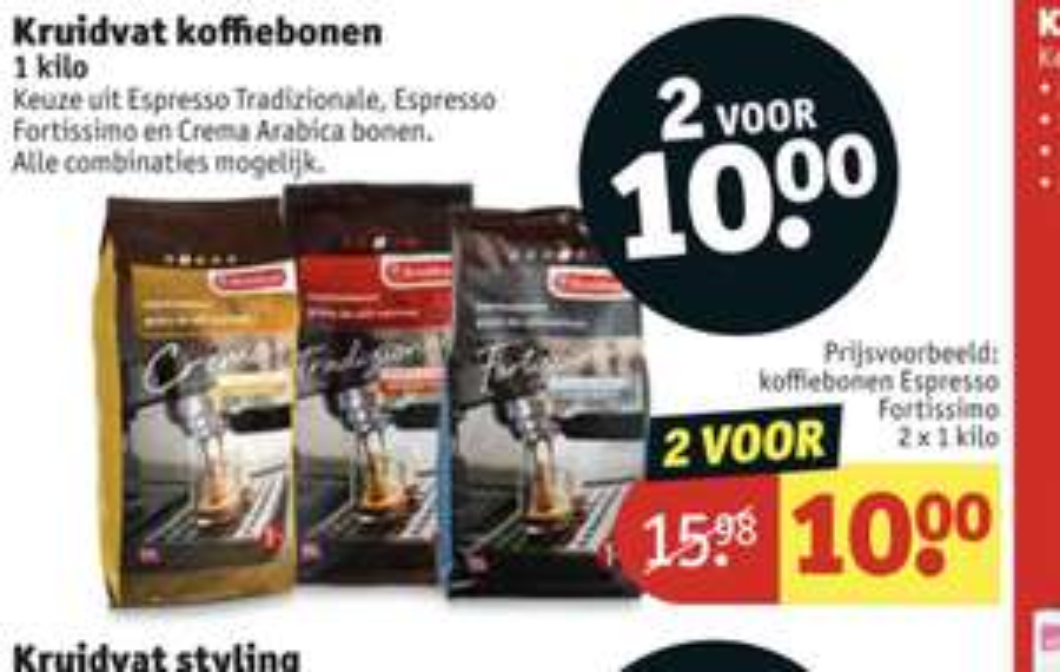 Kruidvat koffiebonen 2 kg voor 10 euro