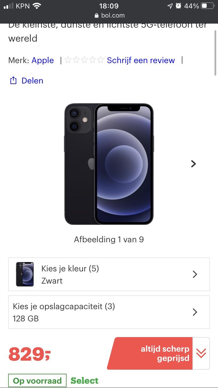 Apple iPhone 12 mini 128 GB ZWART