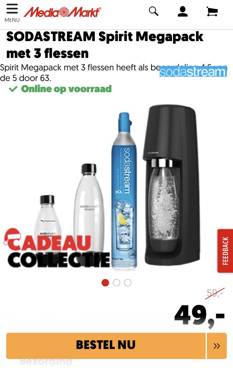SODASTREAM Spirit Megapack met 3 flessen