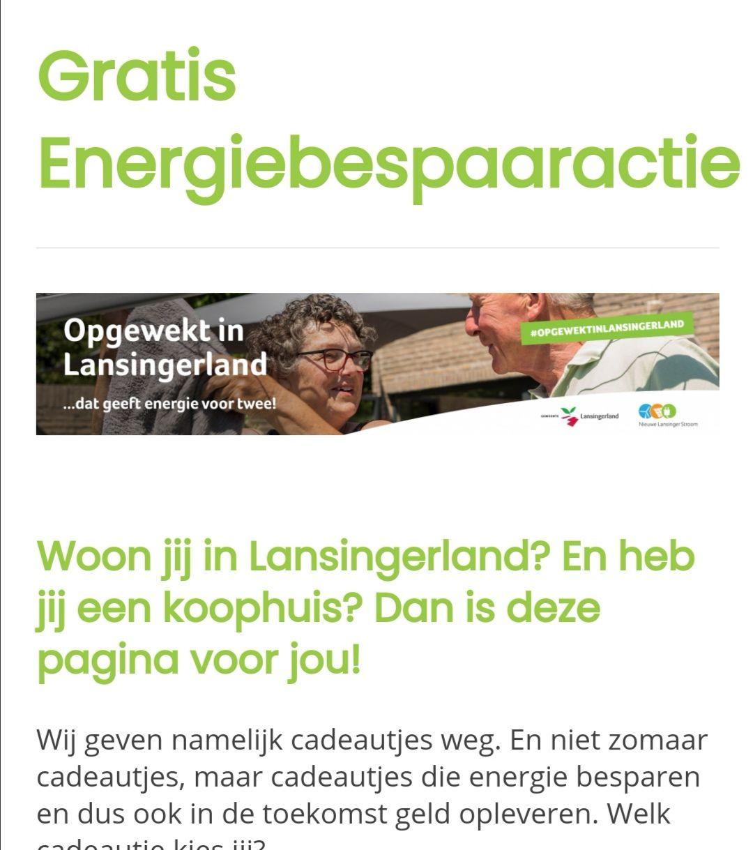 Gratis energiebespaarpakket voor huiseigenaren in Lansingerland t.w.v. €90,-