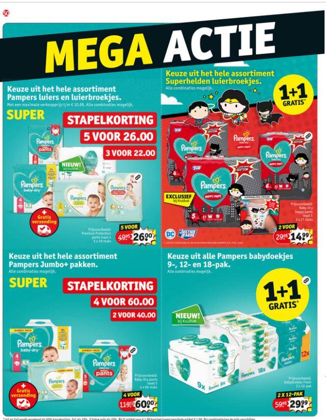 Pampers, o.a. 5 stuks voor €26 + gratis verzenden