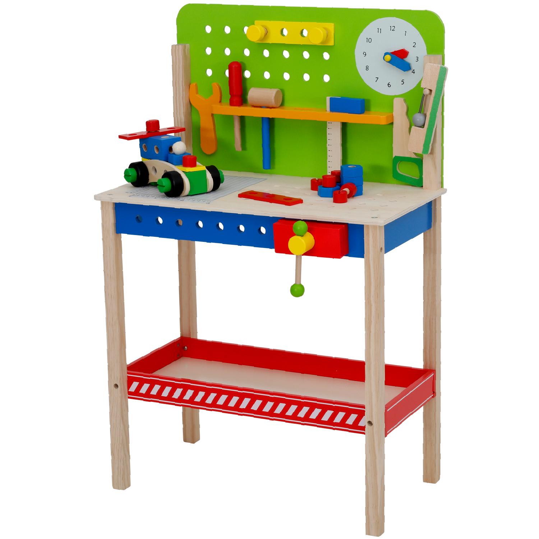 Houten speelgoed werkbank 54-delig voor €22,50 bij Action