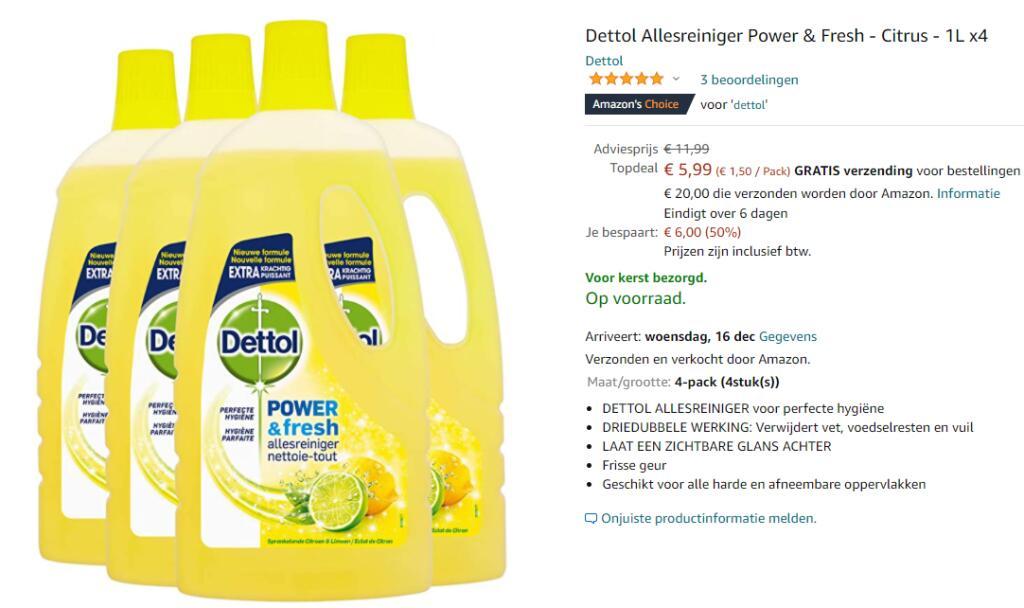 Dettol Allesreiniger Power & Fresh - Citrus - 1L x4