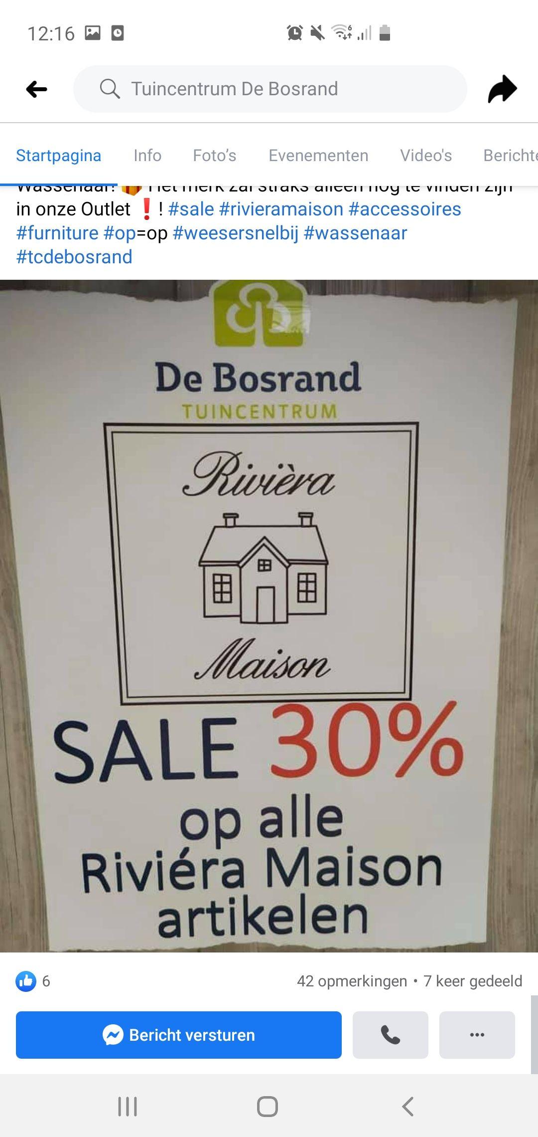 ( LOKAAL ) 30% korting op alles van Riviera Maison bij tuincentrum de bosrand