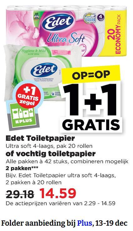 Edet Toiletpapier 1+1 bij Plus vanaf gisteren