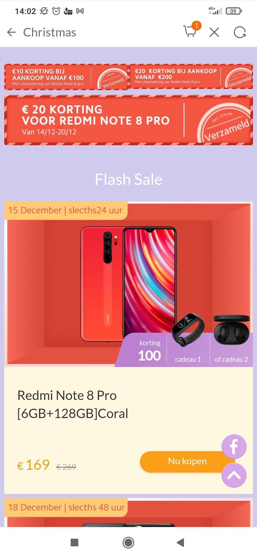 Nog goedkoper Xiaomi redmi 8 pro voor 149 met gratis mi band 4 of mi earbuds (mi band 5 + 9,99)