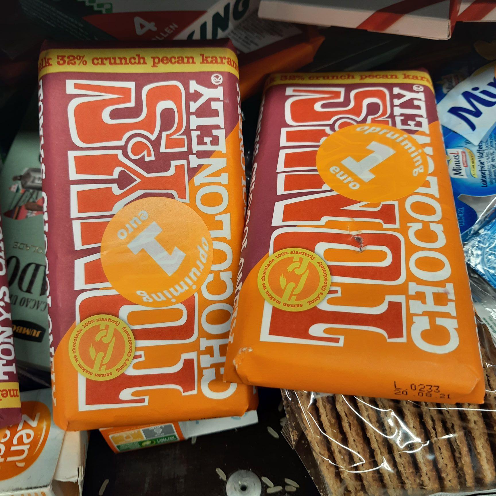 [Lokaal?] Tony's Chocolonely estafettereep Melk Crunch Pecan