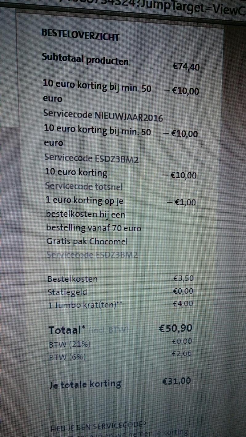 3x kortingscodes voor €30 korting @ Jumbo