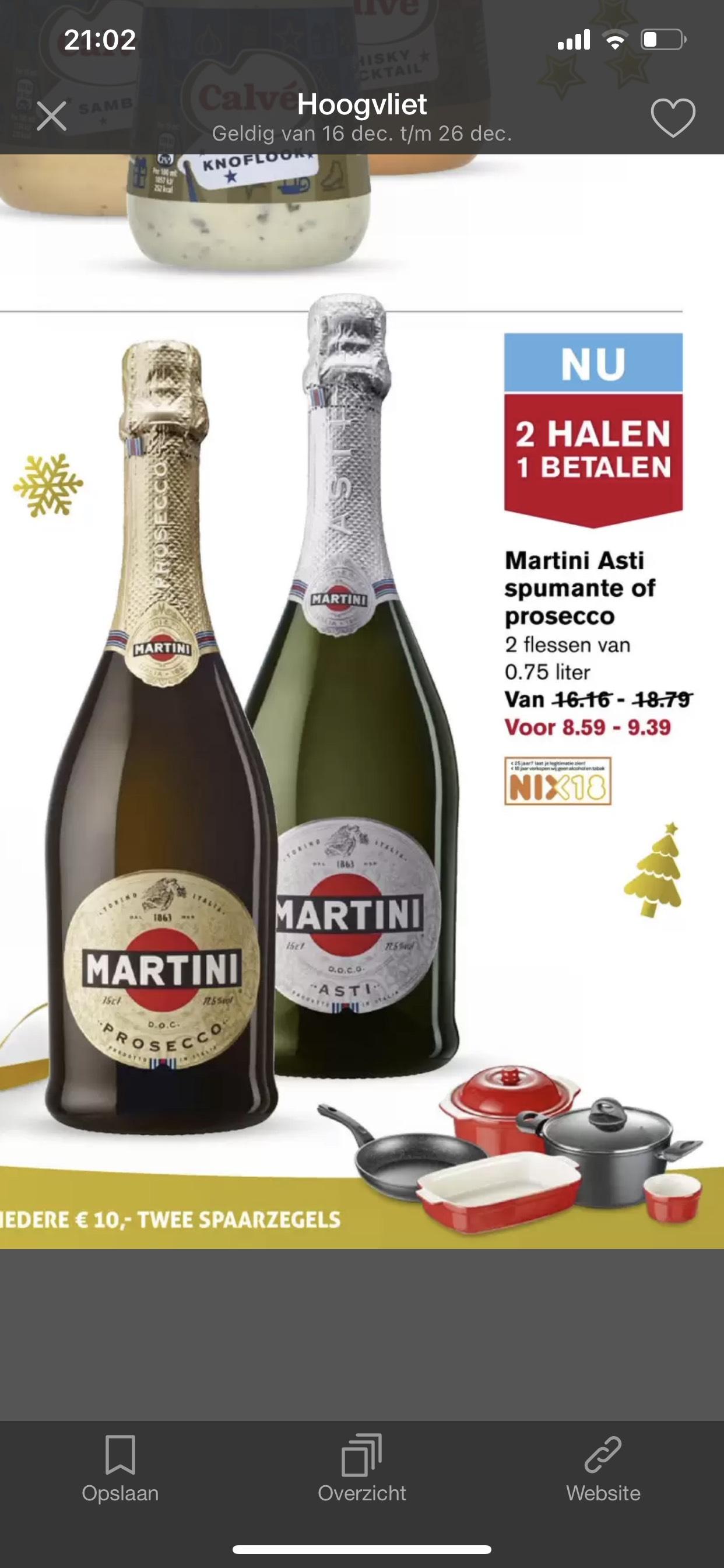 2 halen 1 betalen Martini