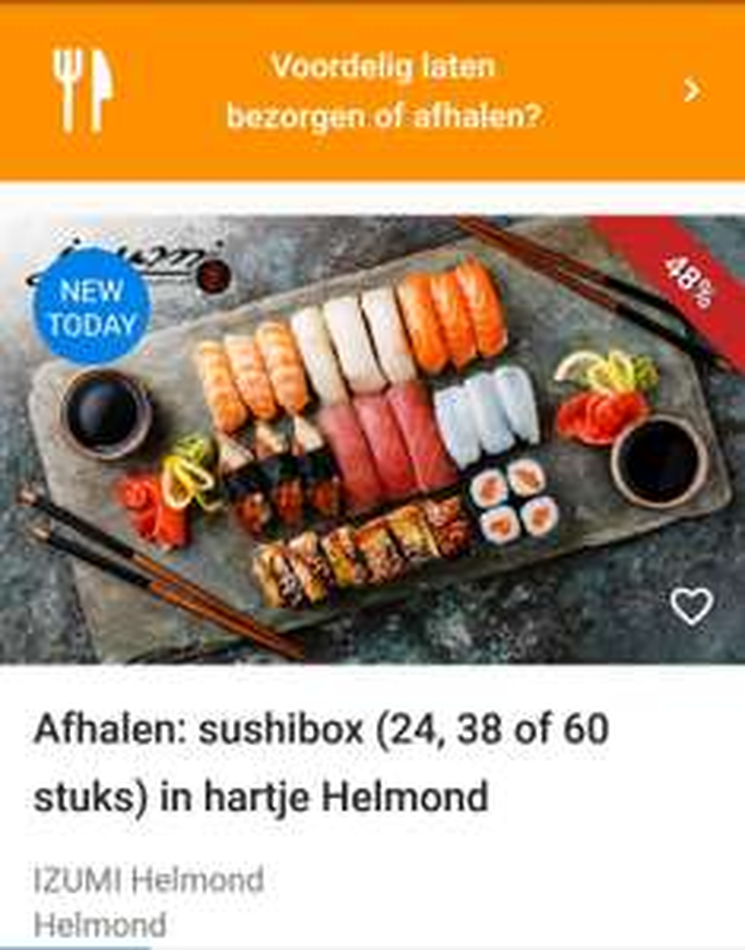 Sushi boxen bij Izumi in Helmond (20, 38 of 60 stuks)