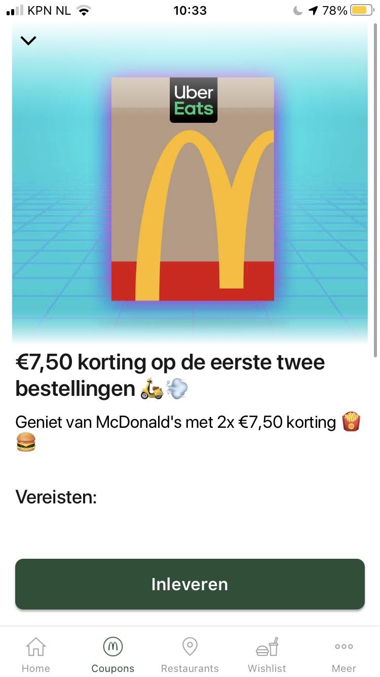 €7,50 korting bij McDonald's op de eerste twee bestelling via UberEats
