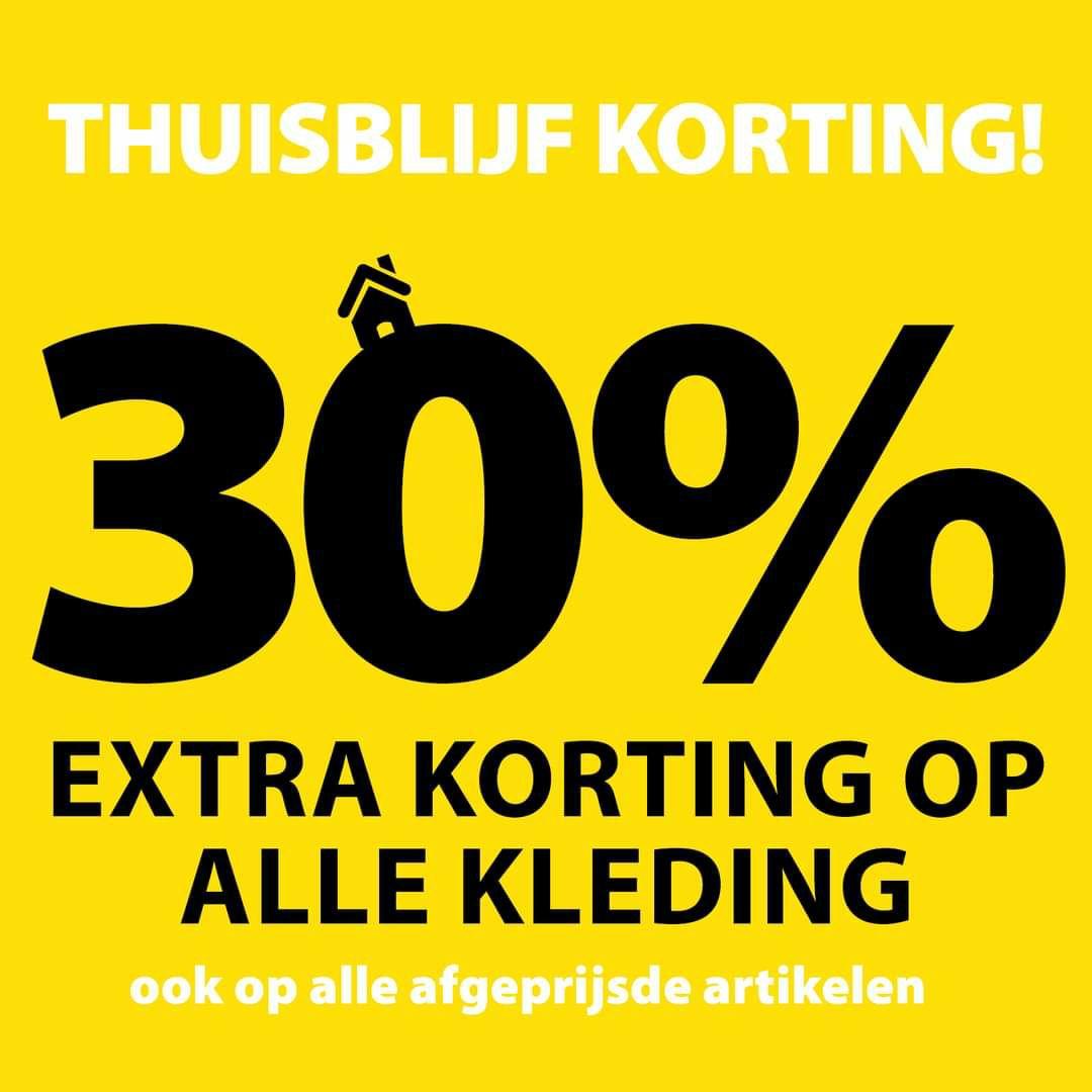 Terstal 30% korting op alle kleding ( ook sale )