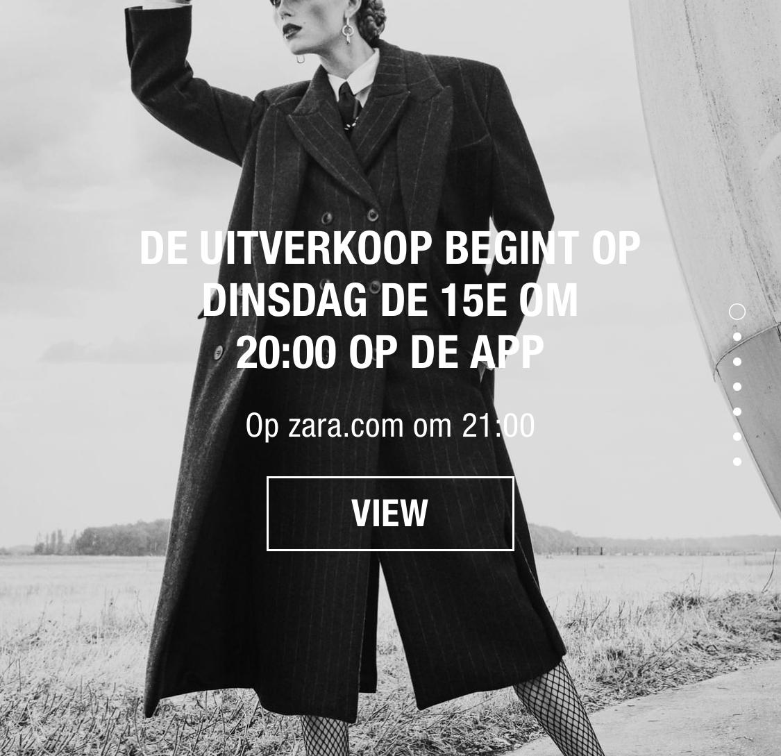 Zara uitverkoop tot 60% korting