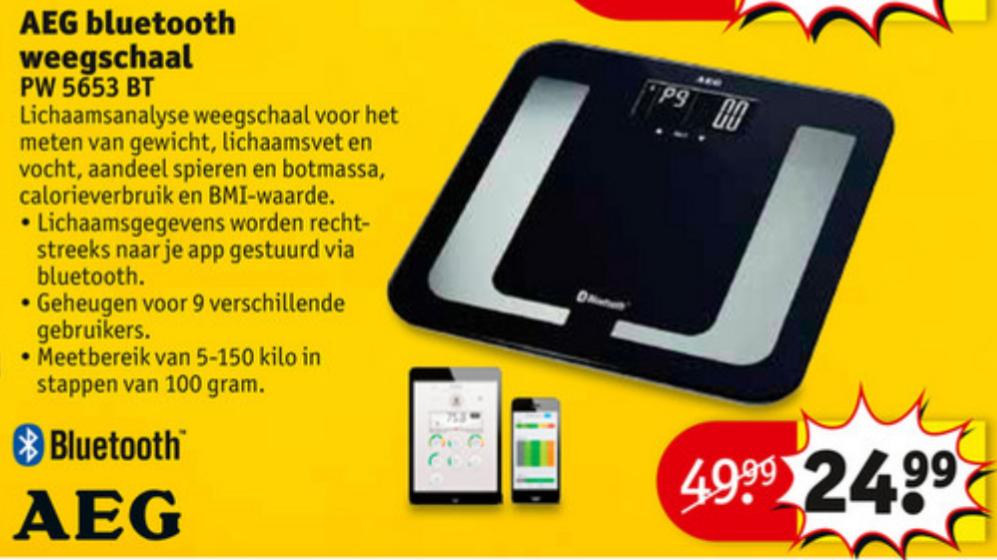 AEG PW 5653 Personenweegschaal Weegschaal met Bluetooth voor €24,99 @ Kruidvat