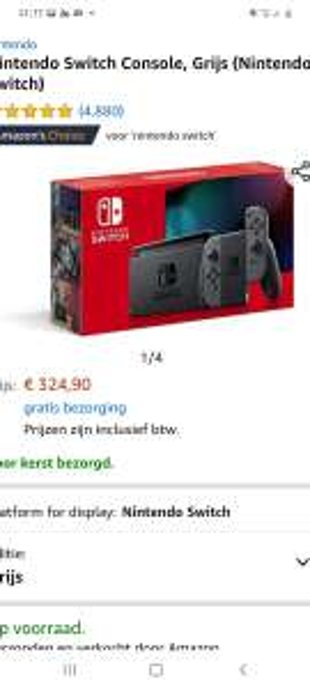 Nintendo switch grijze editie (voor kerst bezorgd)