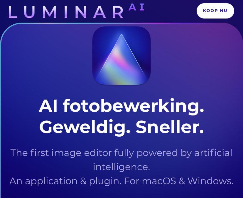 Flinke korting op de nieuwe Luminar AI fotobewerking software van Skylum