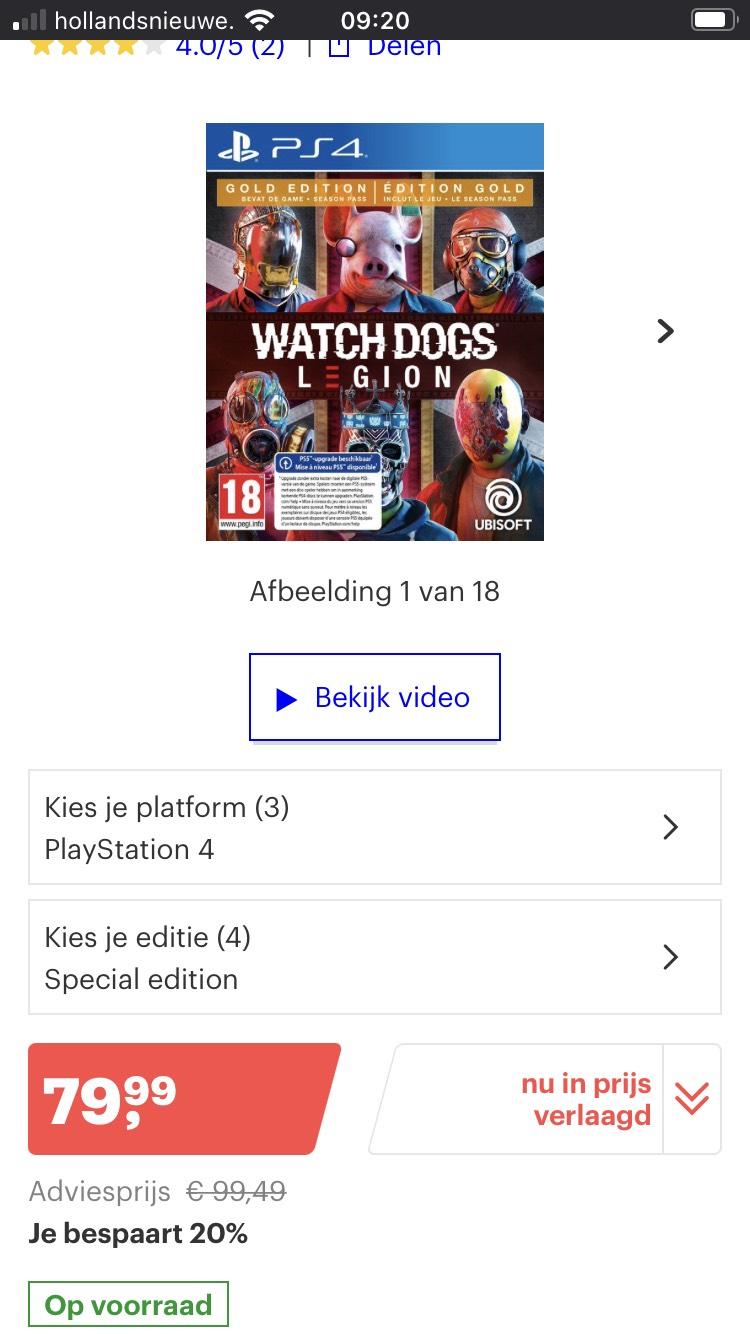 Watch Dogs Legion: Gold Edition - PS4 (Inclusief gratis upgrade naar PS5)