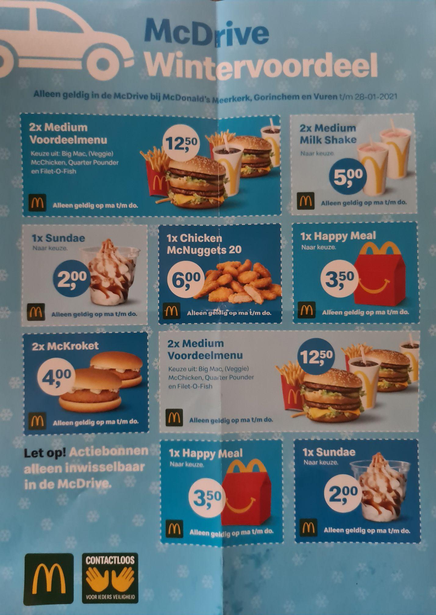 McDonald's Kortingsbonnen voor Mcdrive Meerkerk, Gorinchem Vuren,