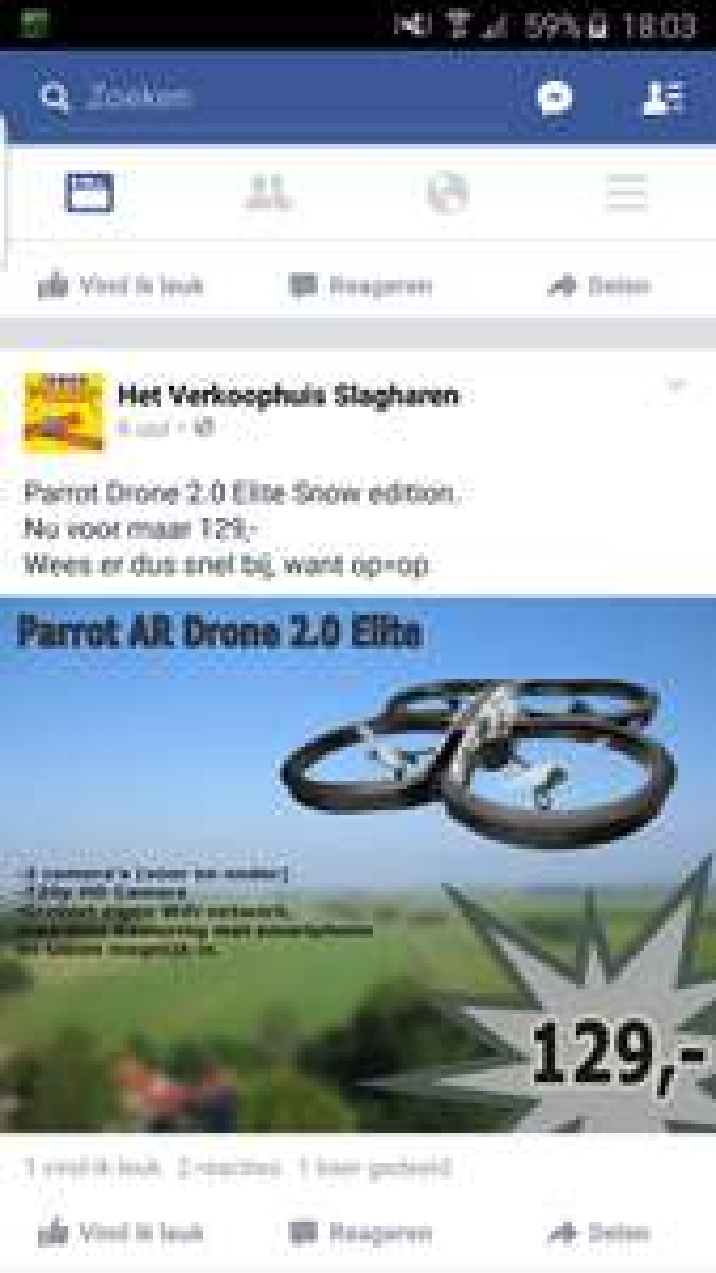 parrot AR Drone 2.0 Elite Snow Edition @ Hetverkoophuis