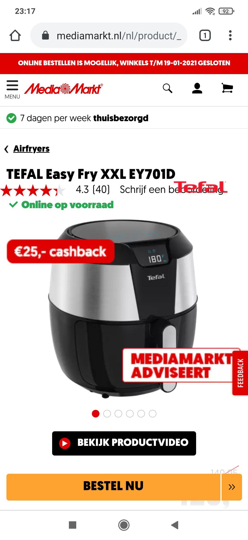 TEFAL Easy Fry XXL EY701D nu €95 na cashback