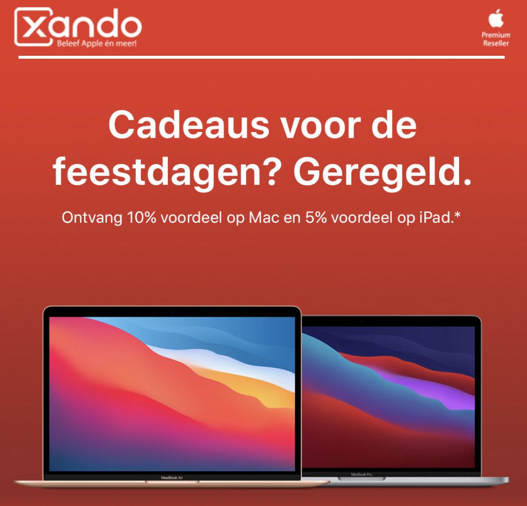 10% korting op Macs 5% Korting op iPad@Xando