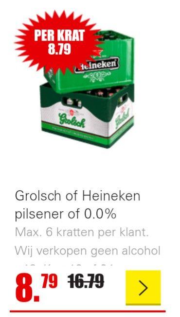 Krat Grolsch of Heineken pilsener of 0,0% bij Dirk