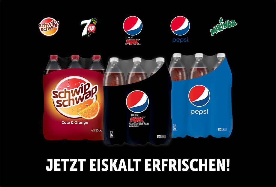 [Grensdeal DE] 6-pack Pepsi, 7-up, Schwip Schwap of Mirinda 1,5L voor €0,88 bij Edeka (~€0,15 per fles)