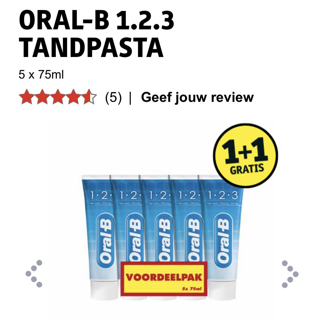 Oral-B 1,2,3 tandpasta (10 tubes voor 5 euro)