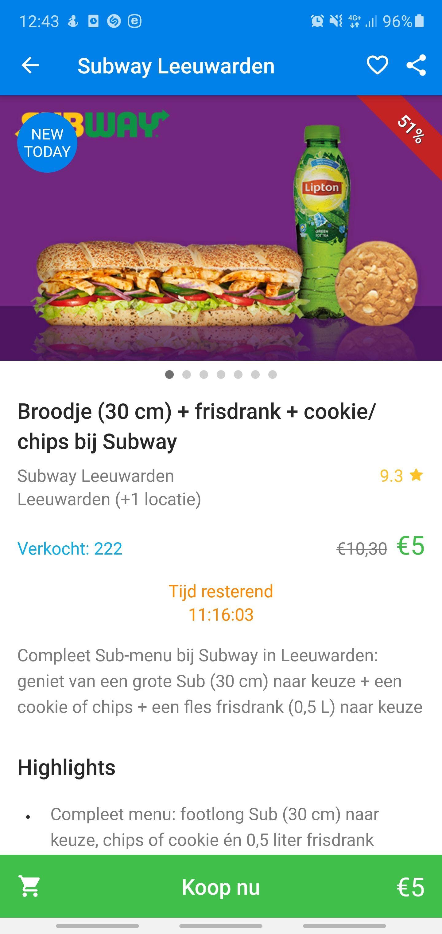 [Lokaal LEEUWARDEN] Subway footlong + cookie/chips + drankje voor €5!