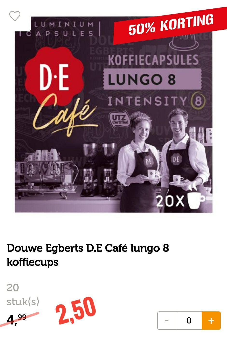 Douwe Egberts D.E Café lungo 8 koffiecups - 20 cups voor €2,50 bij Coop