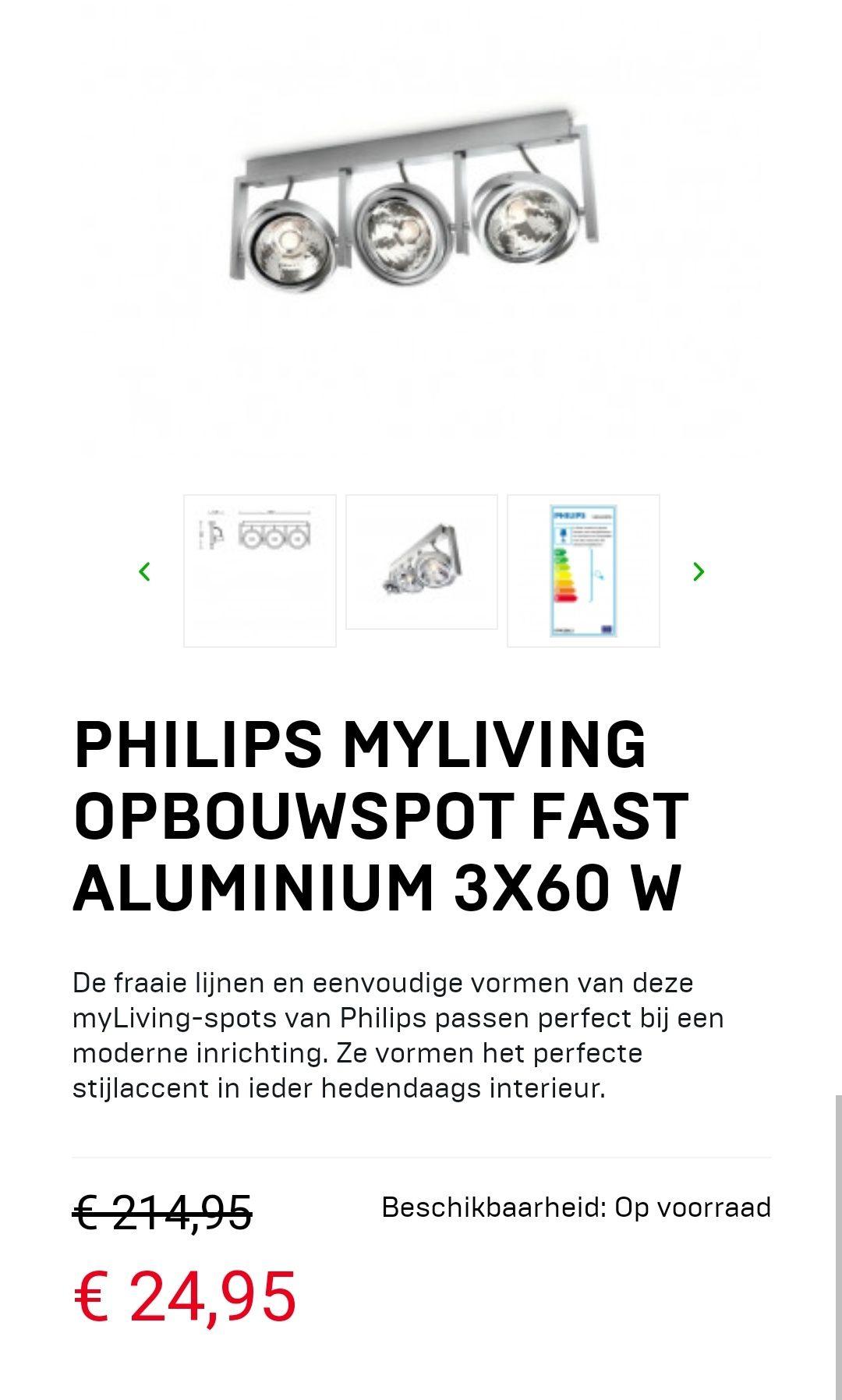 PHILIPS MyLiving opbouwspotd aluminium 3X60W
