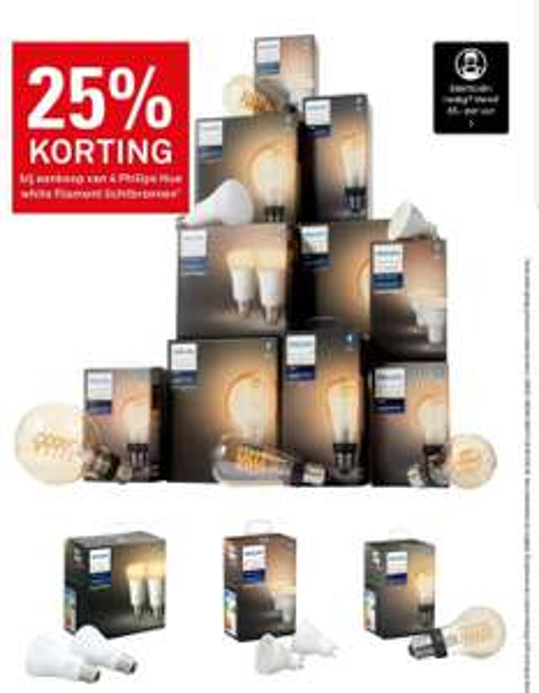 25% korting bij aankoop van 4 Philips Hue white filament lampen