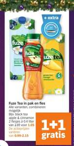 Alle Fuze Tea in Pak of Fles 1+1 Gratis bij AH