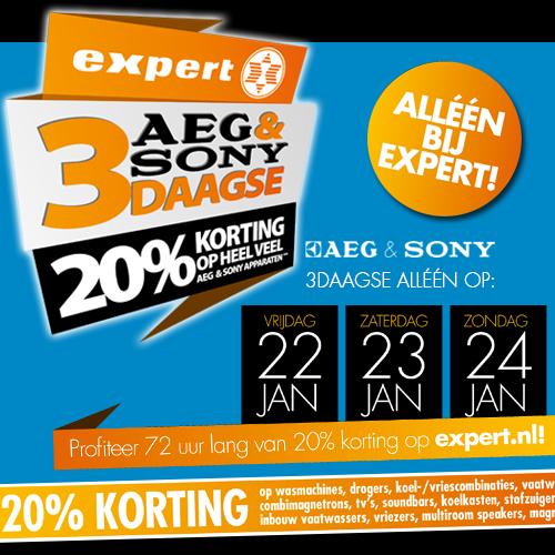 20% korting op heel veel AEG en Sony producten (vrijdag, zaterdag en zondag) @ Expert