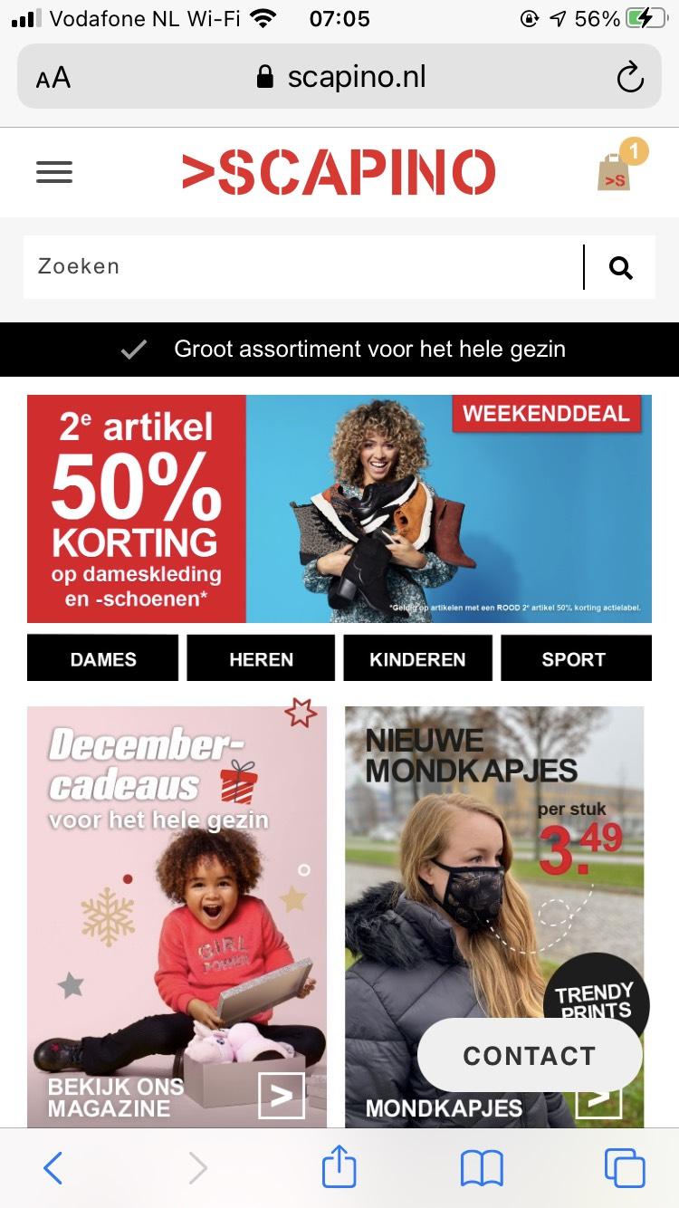 2e artikel 50% korting op dameskleding en - schoenen